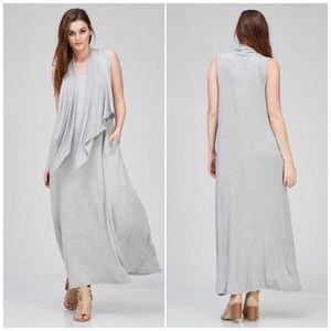 Long Gray Maxi Dress with Attached Vest
